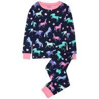 Hatley Girl's Happy Horses Organic Cotton Long-Sleeve Pajama Set
