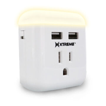 Xtreme Night-Light Dual USB AC Outlet Plug