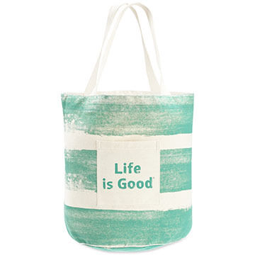 Life is Good Womens Bright Teal Painted Stripe Beach Tote