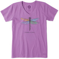 Life is Good Women's Change is Good Dragon Crusher Vee Short-Sleeve T-Shirt