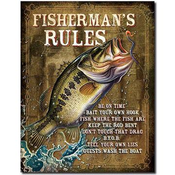 Desperate Enterprises Fisherman's Rules Tin Sign
