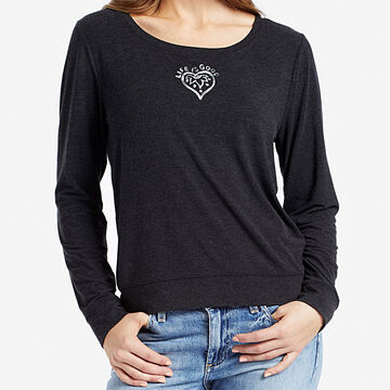 Life is Good Women's Heart Mandala Supreme Scoop Pullover Long-Sleeve Top