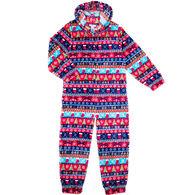 Candy Pink Girl's Xmas Stripe Pajama Onesie