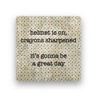 Paisley & Parsley Designs Helmet On Marble Tile Coaster