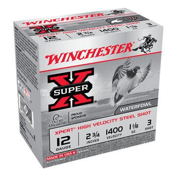 "Winchester Super-X Xpert Hi-Velocity Steel 12 GA 2-3/4"" 1-1/8 oz. #3 Shotshell Ammo (25)"