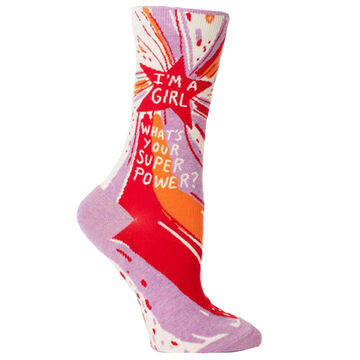 Blue Q Womens Im A Girl. Whats Your Super Power? Crew Sock