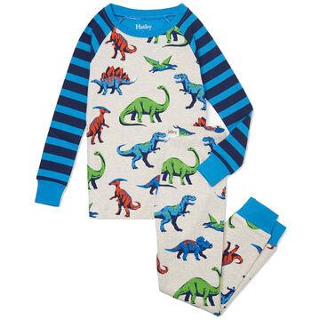Hatley Boys Friendly Dinos Organic Cotton Raglan Pajama Set