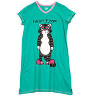 Lazy One Women's Feline Sleepy V-Neck Nightshirt