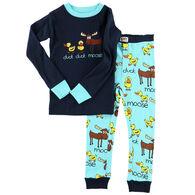 Lazy One Toddler Boy's Duck Duck Moose Blue PJ Set