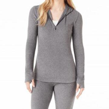 Cuddl Duds Women's Fleecewear with Stretch Half-Zip Long-Sleeve Hoodie