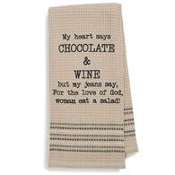 Mona B Chocolate & Wine Embroidered Waffle Weave Dishtowel