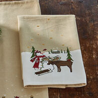 Park Designs Snowman & Moose Embroidered Dish Towel