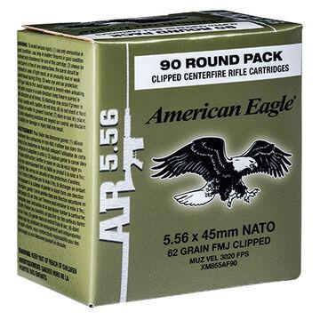 American Eagle 5.56x45mm 62 Grain FMJ Clipped Rifle Ammo (90)
