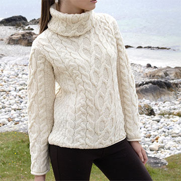 Aran Crafts Womens Turtleneck Pullover Sweater