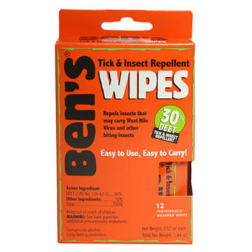 Bens 30 DEET Tick & Insect Repellent Travel Size Wipe - 12 Pk.
