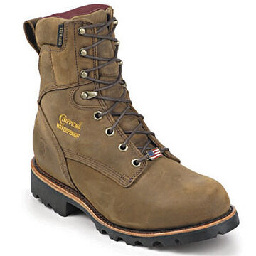Chippewa Mens 8 Plain Toe Waterproof Crazy Horse Leather Insulated Work Boot, 400g