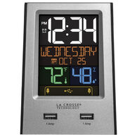 La Crosse Multi-Color Digital Alarm Clock w/ USB