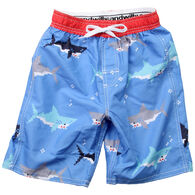 Wes And Willy Boy's Bitmap Shark Swim Trunk