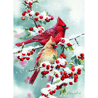 LPG Greetings Cardinal Couple In Snow Boxed Christmas Cards