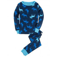 Hatley Boys' Blue Moose PJ Set