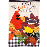 Evergreen Fall Songbirds Gather Applique Garden Flag