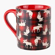 Hatley Little Blue House Plaid Moose Ceramic Mug