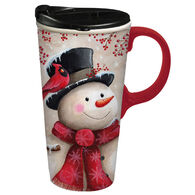 Evergreen Snowman & Cardinal Ceramic Travel Cup w/ Lid