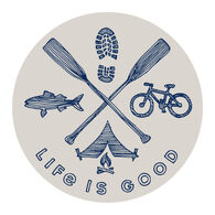 """Life is Good Outdoor Action 4"""" Circle Sticker"""