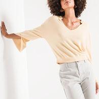 Z Supply Women's Sweater Knit Notch Front Long-Sleeve Top