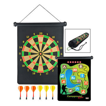 Outside Inside Roll-Up Campground Magnetic Dart Game