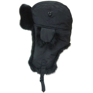 Crown Cap Men's Nylon Aviator Hat with Rabbit Fur