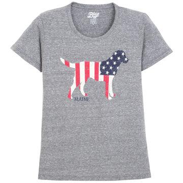 Lakeshirts Womens Blue 84 Kennel Club Lab Maine Short-Sleeve T-Shirt