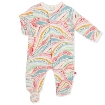 Magnetic Me Infant Girls Twist And Swirls Modal Magnetic Footie Pajama