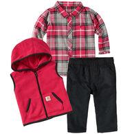 Carhartt Infant/Toddler Girls' Flannel Vest Gift Set