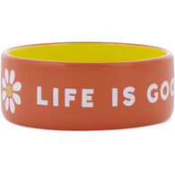 Life is Good Ceramic Daisy 13 oz. Dog Bowl