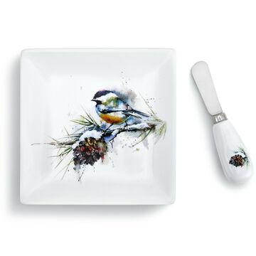 Big Sky Carvers Chickadee and Pinecone Plate & Spreader Set