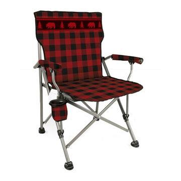 Wilcor Buffalo Plaid Bear Straight Back Folding Chair