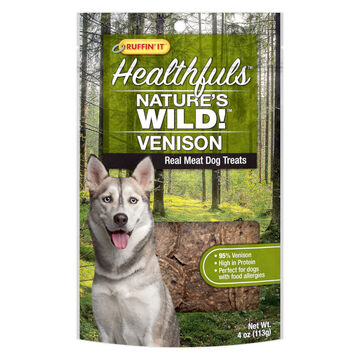 Ruffin It Healthfuls Natures Wild! Venison Dog Treat - 4 oz.