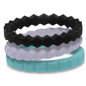 Qalo Womens Melody Silicone Stackable Ring Set