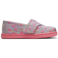 TOMS Toddler Girls' Tiny TOMS Heartsy Twill Glimmer Classic Slip On Shoe
