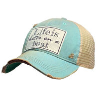 Vintage Life Women's Life is Better On A Boat Distressed Trucker Hat