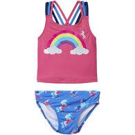 Hatley Toddler Girl's Rainbow Unicorns Sporty Tankini Set