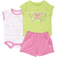 Carhartt Infant Girls' Farm Short Gift Set, 3-pc