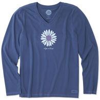 Life is Good Women's Petal Daisy Crusher Vee Long-Sleeve T-Shirt