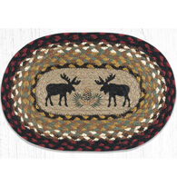 Capitol Earth Black Moose Oval Swatch Braided Rug