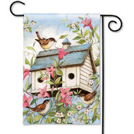 BreezeArt Spring Birdhouse With Clematis Garden Flag