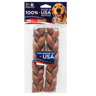 """Pet Factory USA Beefhide Braided Stick 7"""" Flavored Dog Chew - 2 Pk."""