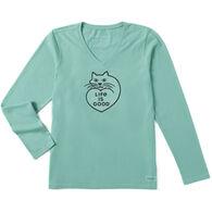 Life is Good Women's Purr Love Crusher Vee Long-Sleeve T-Shirt