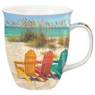 Cape Shore Maine Beach Scene with Adirondack Chairs Harbor Mug
