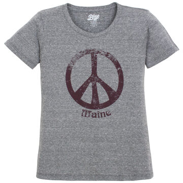 Lakeshirts Womens Blue 84 Annies Peace Sign Maine Short-Sleeve T-Shirt